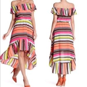 New $128 S Bright High Low Striped Dress